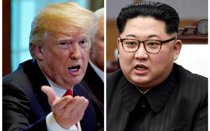 A combination photo shows U.S. President Donald Trump and North Korea leader Kim Jong Un. The two were to meet on Singapore's Sentosa Island for a historic summit June 12. It was to be the first meeting between a sitting U.S. president and a North Korean leader. (CNS photo by Kevin Lamarque, Reuters and Korea Summit Press Pool file photos)