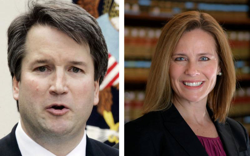 Brett Kavanaugh, a judge on the U.S. Court of Appeals for the District of Columbia Circuit, and Amy Coney Barrett, a judge on the U.S. Court of Appeals for the 7th Circuit, are among President Donald Trump's potential nominees to replace U.S. Supreme Court Justice Anthony Kennedy. Both Kavanaugh and Barrett are Catholic. (CNS photo by Larry Downing and University of Notre Dame handout via Reuters