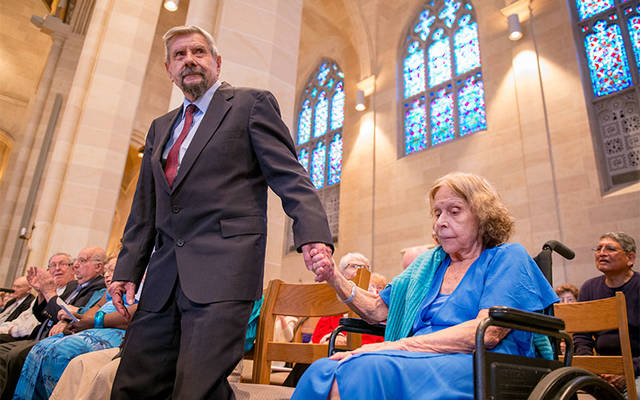 <p>During the annual Wedding Jubilee Mass at Rochester's Sacred Heart Cathedral May 6, Bob and Dee Crowell are recognized for their 69 years of marriage. (Courier photo by Jeff Witherow)  </p>