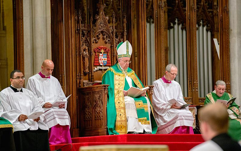 Pope Francis leads an evening prayer service at St. Patrick's Cathedral.