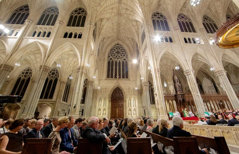 Roughly 3,000 people attended an evening prayer led by Pope Francis at St. Patrick's Cathedral in New York Sept. 24.