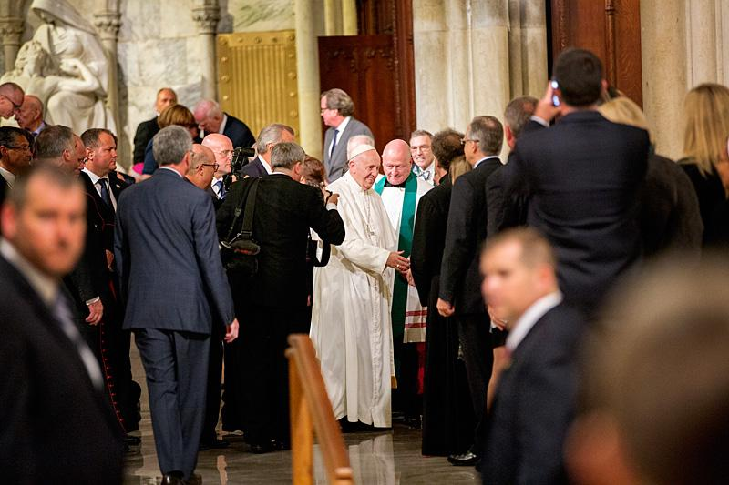 Pope Francis meets well-wishers after the evening prayer service at St. Patrick's Cathedral.