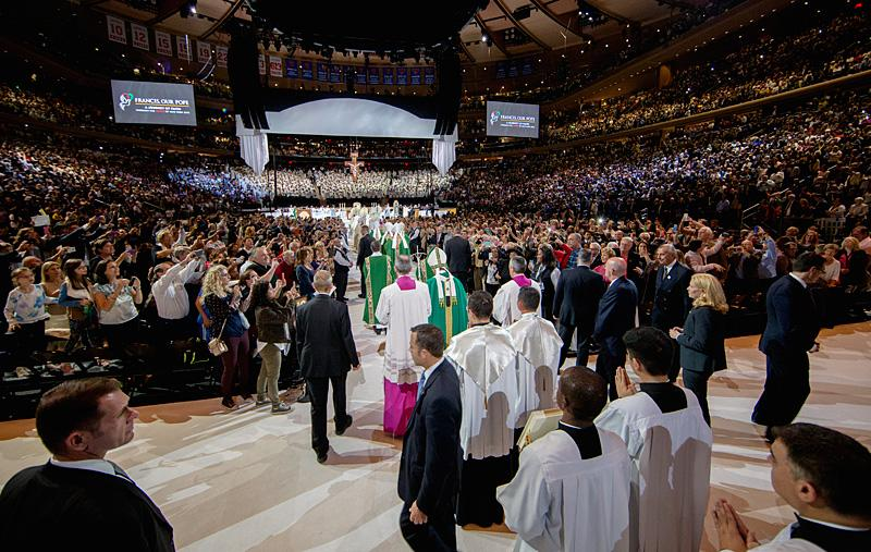 Pope Francis processes in for Mass at Madison Square Garden Sept. 25.