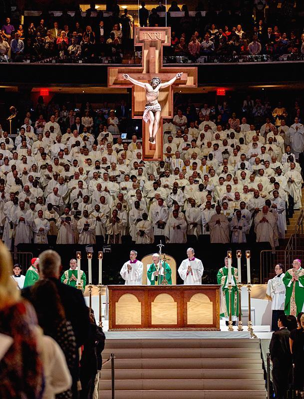 Pope Francis celebrates Mass at Madison Square Garden Sept. 25.
