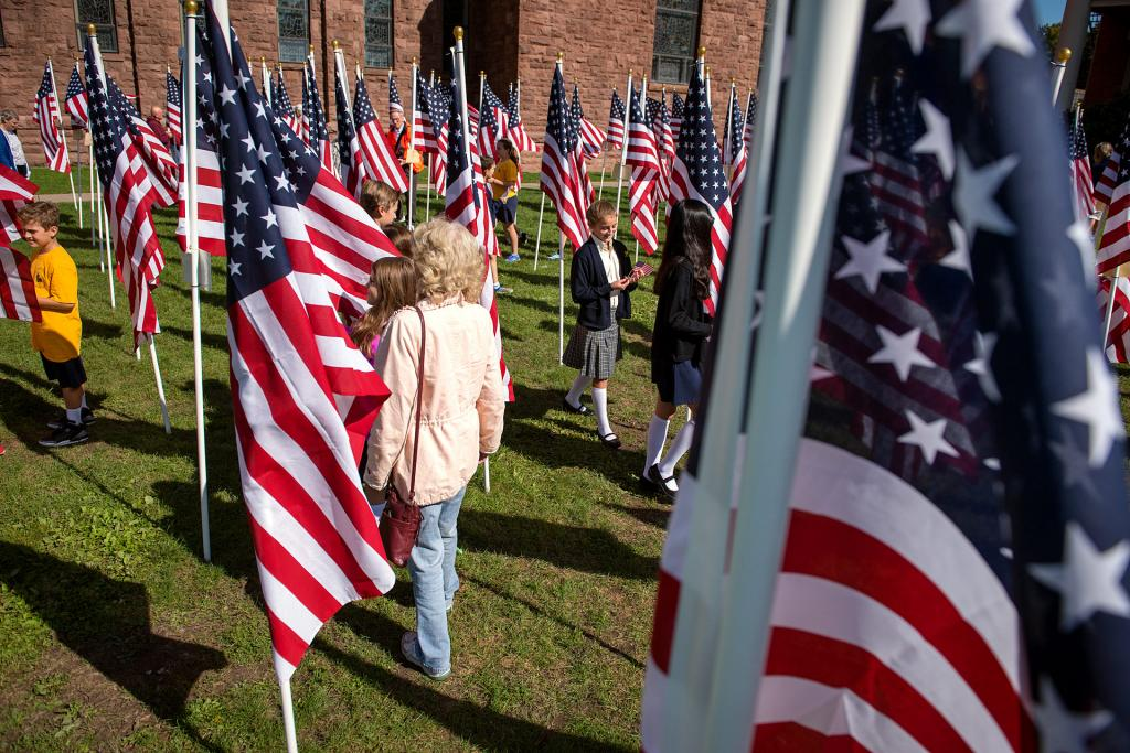 Visitors walk through the Field of Honor.