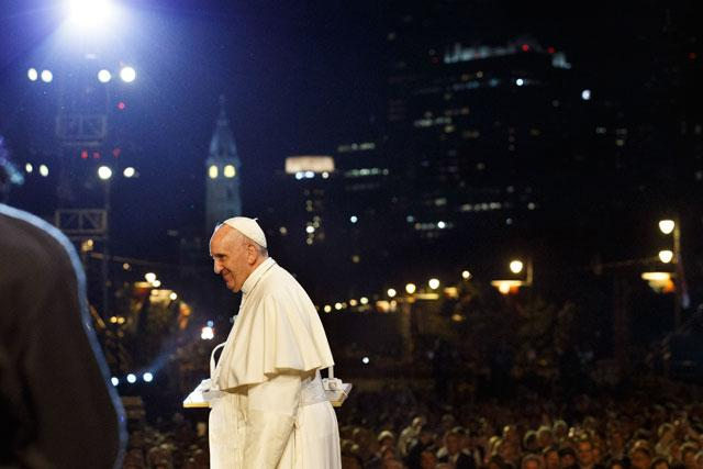 Pope Francis attends Festival of Families and prayer vigil on Benjamin Franklin Parkway in Philadelphia