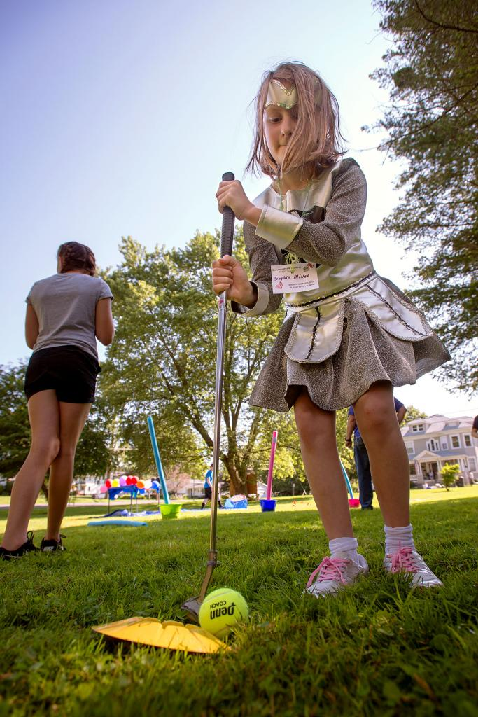Sophia Miller competes in an obstacle course July during vacation Bible school at St. Francis and St. Clare Parish in Waterloo.