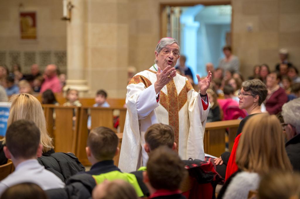 Bishop Salvatore R. Matano gives the homily during a Jan. 31 Mass celebrating Catholic Schools Week.