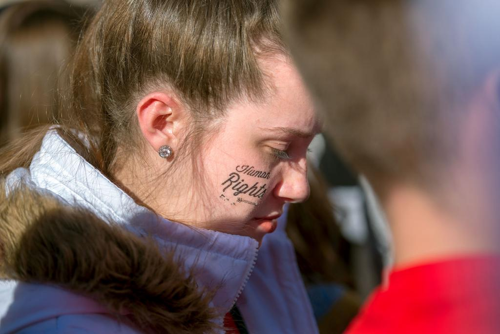 Sydney Flanagan of Florida bows her head during the March for Life.