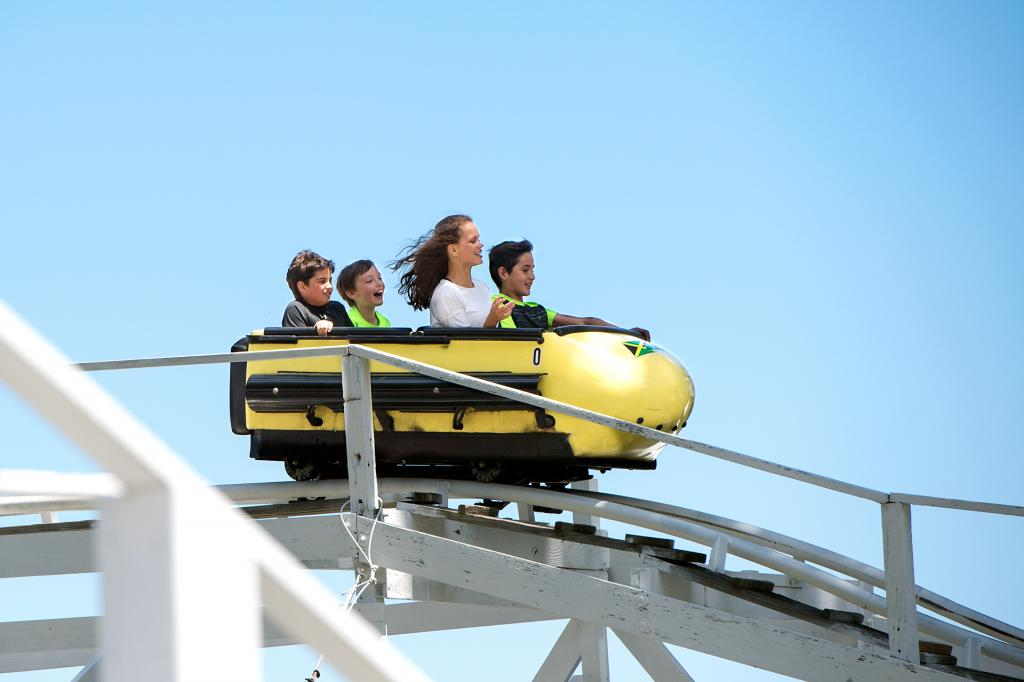 Trevor Patel (from left), Keegan Dennis, Harrison Aguirre and Katherine Beachel ride the bobsled at Seabreeze Amusement Park in Irondequoit June 21 during a field trip celebrating the end of the school year.