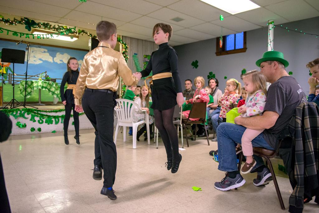 Members of the Rochester Academy of Irish Dance perform before dinner. (Courier photo by Jeff Witherow)