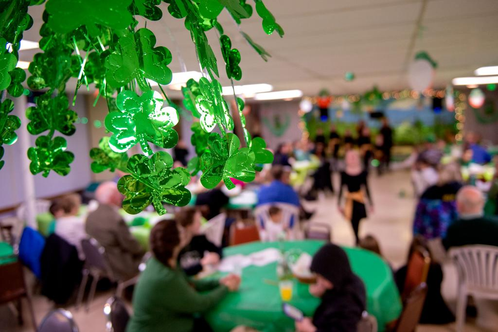 St. Patrick's Day decorations hang in the parish hall. (Courier photo by Jeff Witherow)