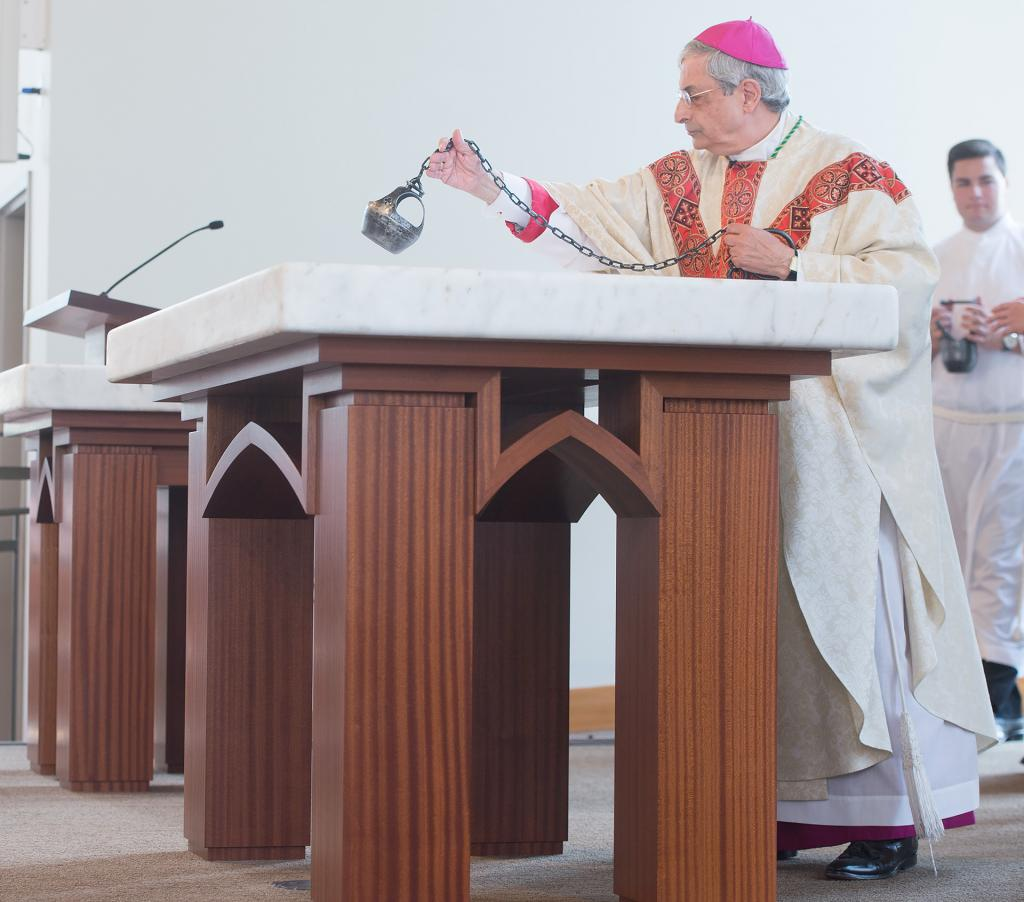 Bishop Salvatore R. Matano was the principal celebrant during the first Mass held in the new Hermance Family Chapel of St. Basil the Great at St. John Fisher College Sept. 17.