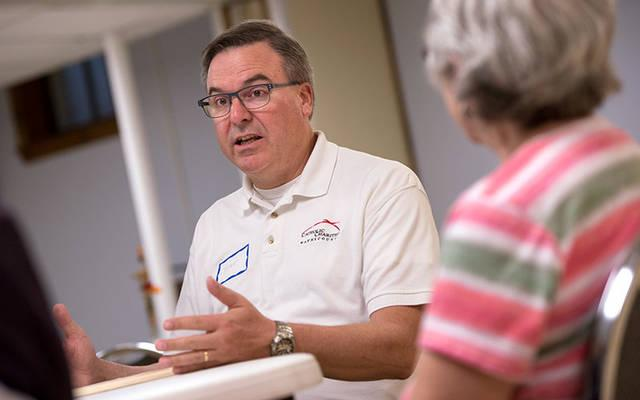<p>Deacon Peter Dohr leads a grief support group at St. Paul of the Cross Church in Honeoye Falls Oct. 15.  </p>