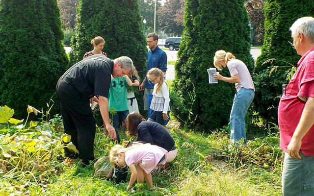 <p>Participants in St. Alphonsus Parish's Children's Crafting Ministry pick vegetables as part of a gardening project at the church Sept. 17.  </p>