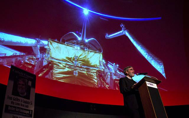 <p>Jesuit Brother Guy Consolmagno, director of the Vatican Observatory, delivers the 2017 Catholic Courier Lecture Oct. 5 at Strasenburgh Planetarium in Rochester.  (Courier photo by Jeff Witherow) </p>