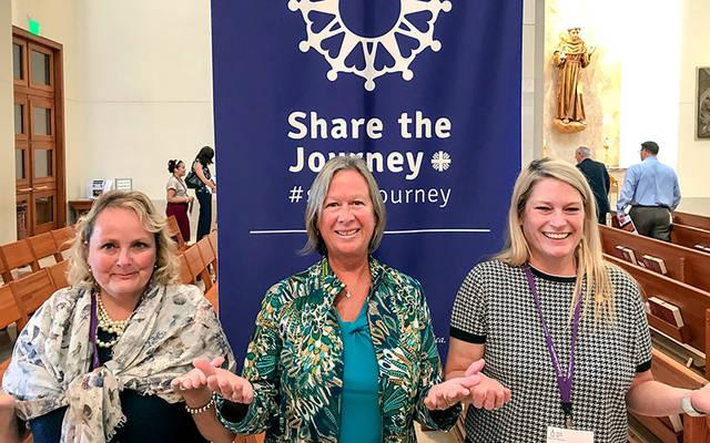 <p>Ellen Wayne (from left), executive director of Catholic Charities of the Finger Lakes; Laura Opelt, executive director of Catholic Charities of Steuben County; and Paula Smith, fundraising and communications director for Catholic Charities of Steuben County, participated in Catholic Charities USA's 2017 Annual Gathering in Houston Sept. 28-30.  Photo courtesy of Paula Smith </p>