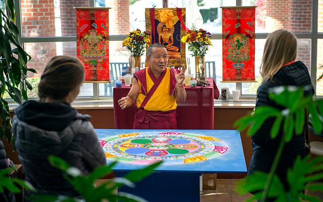 <p>The Venerable Tenzin Yignyen, a Tibetan Buddhist monk, speaks to residents and visitors about compassion and grief Nov. 5 at St. Ann's Community in Rochester. (Courier photo by Jeff Witherow)  </p>