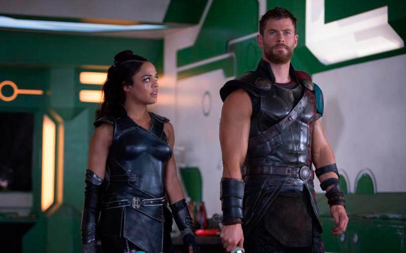 "Tessa Thompson and Chris Hemsworth star in a scene from the movie ""Thor: Ragnarok."" (CNS photo by Disney)"