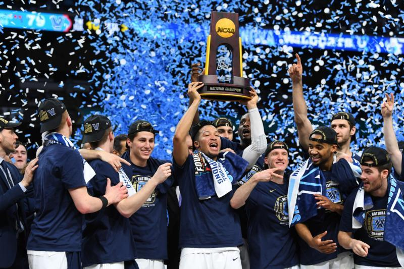 Villanova Wildcats guard Jalen Brunson hoists the national championship trophy after defeating the Michigan Wolverines, 79-62, in the 2018 NCAA men's basketball championship April 2 in San Antonio. (CNS photo by Robert Deutsch/USA TODAY Sports via Reuters)