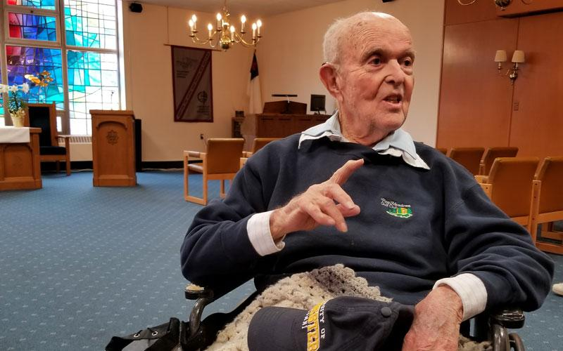 """John """"Jack"""" Reinhardt, 95, is a World War II veteran, a lifelong Catholic and a dedicated volunteer. Staff writer Jennifer Burke talked with him April 10 for an article that will be published in the Catholic Courier's May edition."""