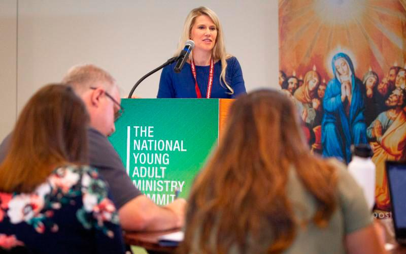 Sarah Yaklic, director of Grotto Network at the University of Notre Dame in South Bend, Ind., speaks during a breakout session May 16 at the National Young Adult Ministry Summit at the St. John Paul II National Shrine in Washington. (CNS photo by Tyler Orsburn)