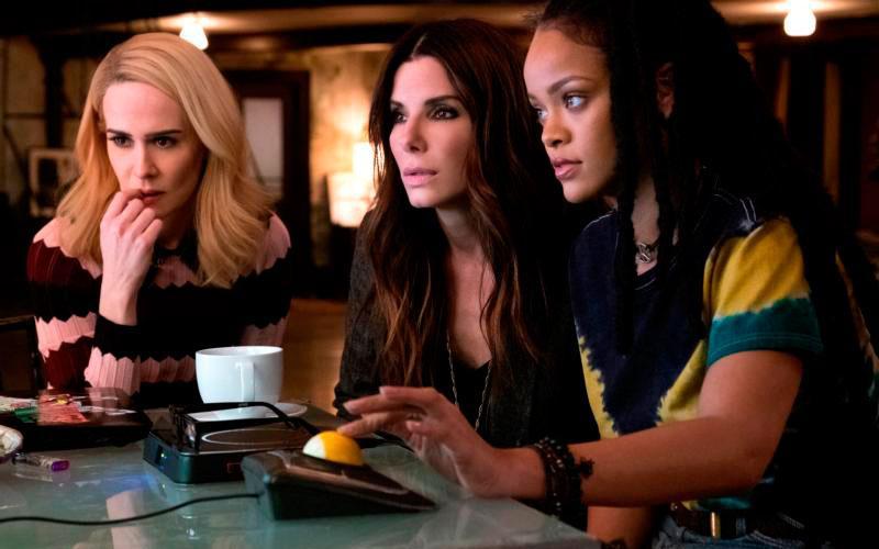 "Sara Paulson, Sandra Bullock and Rihanna star in a scene from the movie ""Ocean's 8."" (CNS photo by Warner Bros.)"
