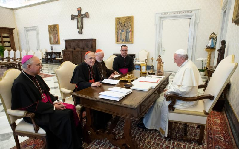 Pope Francis meets with officials representing the U.S. Conference of Catholic Bishops at the Vatican Sept. 13. Pictured from left are Archbishop Jose H. Gomez of Los Angeles, vice president of the conference, Cardinal Daniel N. DiNardo of Galveston-Houston, president of conference, Cardinal Sean P. O'Malley of Boston, president of the Pontifical Commission for the Protection of Minors, and Msgr. J. Brian Bransfield, general secretary of the conference. (CNS photo by Vatican Media)