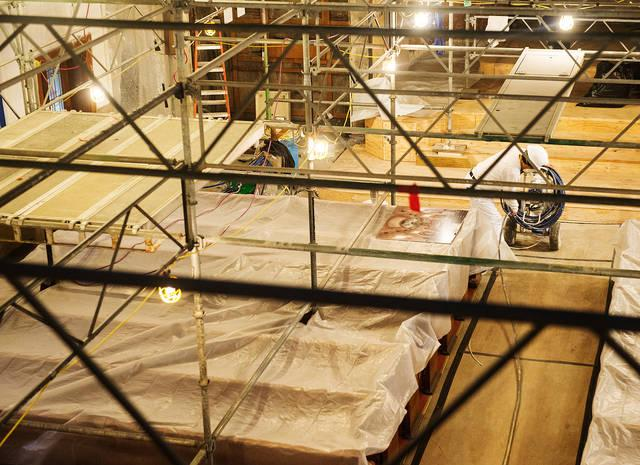 <p>Some of the renovation work taking place at Rochester's Our Lady of Victory Church, as seen on April 11. (Courier photo by John Haeger)  </p>