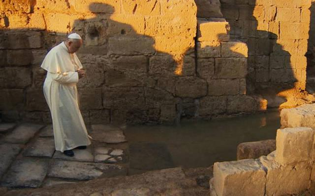 """<p>Pope Francis stars in a scene from the documentary """"Pope Francis: A Man of His Word."""" (CNS photo by Focus)  </p>"""