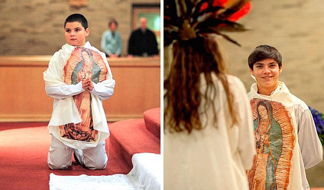 St. Joseph Church of Penfield parishioner Brandon Sanzo playing St. Juan Diego during Our Lady of Guadalupe Masses in 2009 (left) and 2013.
