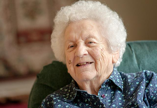 Marie Keefer smiles as she talks about 100 years of memories.