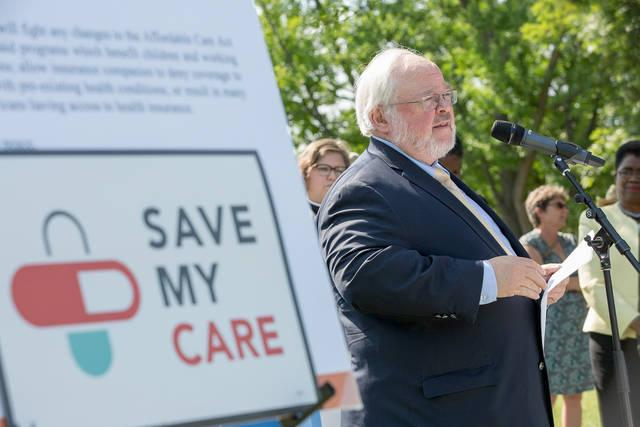 <p>John Carr, director of the Initiative on Catholic Social Thought and Public Life at Georgetown University, speaks during a 23-hour prayer vigil June 29 on Capitol Hill in Washington. The vigil focused on preserving Medicaid and was organized after the Senate delayed a vote on the Better Care Reconciliation Act, its health care reform bill. </p>
