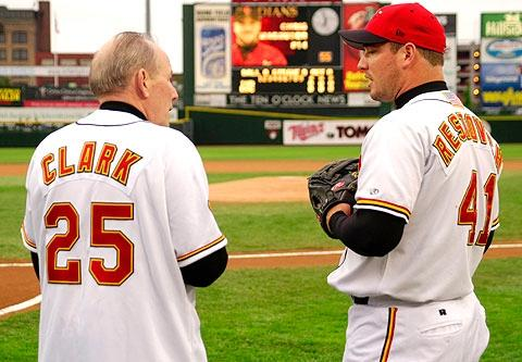"""Bishop Matthew H. Clark talks to Rochester Red Wings outfielder Michael Restovich during """"Bishop Appreciation Night"""" at Frontier Field in 2003."""
