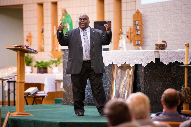 Deacon Harold-Burke Sivers speaks during the 2016 Rochester Catholic Men's Conference at St. Jude the Apostle Church in Gates.