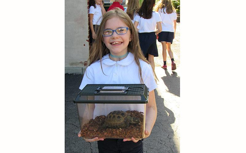 Mallory Robin with her tortoise