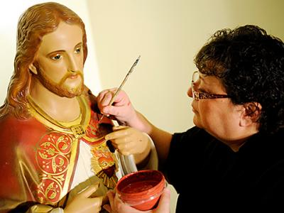 Bonnie DePrez, a parishioner of Avon's St. Agnes Church, has been working on a volunteer basis to restore artwork at St. Agnes and at Lima's St. Rose Church, where she recently completed a restoration of the Stations of the Cross.