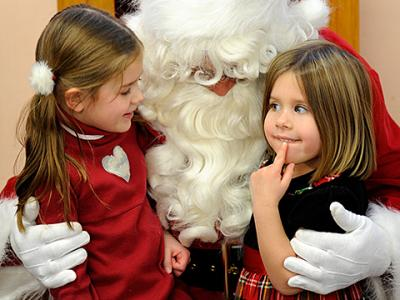 """Prekindergarten through second-grade students at St. Joseph School in Auburn got to meet Santa Claus and indulge in some Christmas treats during a Dec. 14 """"Breakfast with Santa"""" in the school cafeteria."""