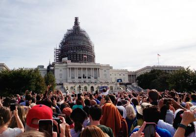 Thousands gathered on the West Lawn of the U.S. Capitol building to watch Pope Francis' address to the joint members of Congress Sept. 24. Former staff writer Amy Kotlarz had received a pair of tickets in a lottery through Sen. Kirsten Gillibrand's office.