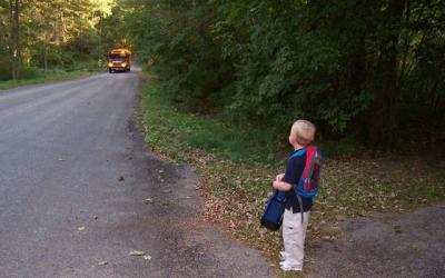 Joey Ficcaglia waits for the school bus to arrive on his first day of kindergarten in 2010.