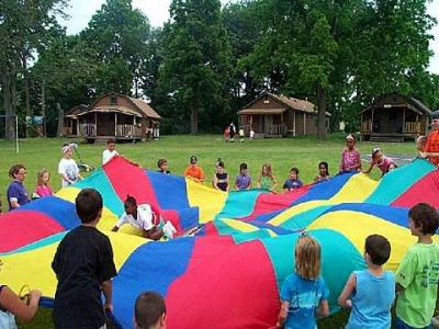 Children enjoy some games at Camp Stella Maris in Livingston County.