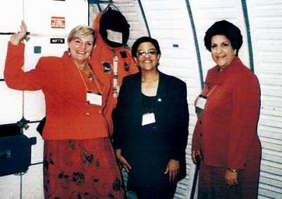 CFC's Carolyn Portanova, Rita Augustine and Judy Azoff pose for a photo at the national meeting of Catholic Charities in Houston, Texas, in 1998.