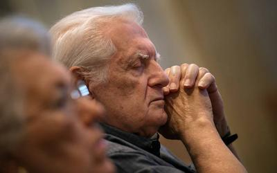 <p>Dominic DiVincenzo closes his eyes in reflection at Sacred Heart Cathedral Oct. 22 during a Mass celebrating the 50th anniversary of the Rochester Cursillo Movement.</p>