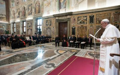 <p>Pope Francis leads an audience with winners of the 2017 Ratzinger Prize at the Vatican Nov. 18. The prize is named for retired Pope Benedict XVI and honors those who make significant contributions to theology and culture. </p>