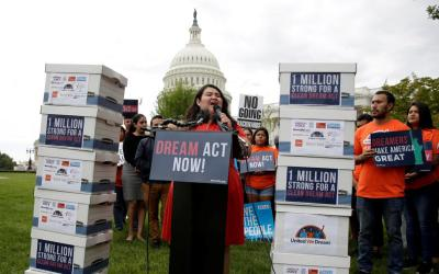 Reuters Rosa Martinez, an immigration activist and a recipient of the Deferred Action for Childhood Arrivals program, known as DACA, takes part in a rally Sept. 12 in Washington urging Congress to pass the DREAM Act. Afterward, rally-goers went to Capitol Hill to deliver a million signatures to Congress.