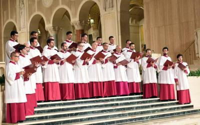 Members of the Sistine Chapel Choir, under the direction of Msgr. Massimo Palombella, perform at the Basilica of the National Shrine of the Immaculate Conception in Washington Sept. 20.