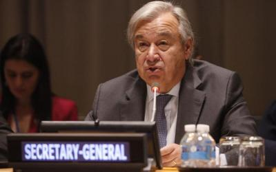 U.N. Secretary-General Antonio Guterres speaks during the signing of the new U.N. Treaty on the Prohibition of Nuclear Weapons Sept. 20 at U.N. headquarters in New York. Archbishop Paul Gallagher, Vatican foreign minister, signed the treaty.