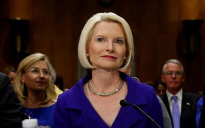 Callista Gingrich is pictured during a U.S. Senate Foreign Relations Committee confirmation hearing in Washington July 18 after being nominated by President Donald Trump to be the U.S. ambassador to the Vatican. The U.S. Senate late Oct. 16 voted to confirm Gingrich, wife of former House Speaker Newt Gingrich. (CNS photo by <b>Jonathan Ernst/Reuters</b>)
