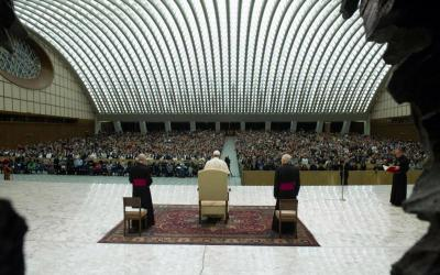Pope Francis is seen during his general audience in Paul VI hall at the Vatican Dec. 27. (CNS photo by L'Osservatore Romano)