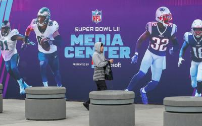 People walk into the Mall of America Jan. 28 in Bloomington, Minn., site of the media center for Super Bowl LII. The NFC champions, the Philadelphia Eagles, and the AFC champions, the New England Patriots, will compete in Super Bowl LII Feb. 4 at U.S. Bank Stadium in Minneapolis. (CNS photo by Erik S. Lesser/EPA)
